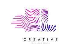 El EL E L cebra alinea la letra Logo Design con colores magentas Imagen de archivo