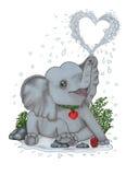 El elefante del bebé asperja descensos de la alegría y de la felicidad Fotografía de archivo libre de regalías