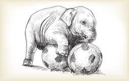 El elefante del bebé que juega a fútbol, el bosquejo y la carta blanca dibujan Imágenes de archivo libres de regalías