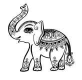 El elefante pintó el ornamento tribal, tatuaje étnico gráfico del elefante del vintage indio ilustración del vector