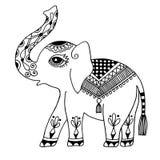 El elefante pintó el ornamento tribal, tatuaje étnico gráfico del elefante del vintage indio stock de ilustración
