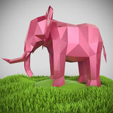 El elefante polivinílico bajo metálico rosado rinde ilustración del vector