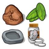 El elefante y el tema gigantesco, plátano se va, las píldoras stock de ilustración