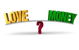 El elegir entre el amor o el dinero Fotografía de archivo libre de regalías