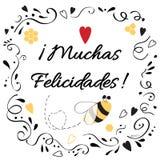 El elemento del diseño de la enhorabuena con el texto felicita título en español Fotos de archivo libres de regalías