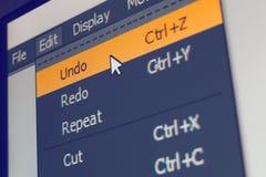 El elemento del menú del software con deshace comando Foto de archivo libre de regalías