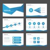 El elemento infographic del polígono azul abstracto y el diseño plano de las plantillas de la presentación del icono fijaron para