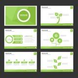 El elemento infographic del verde abstracto de la hoja y el diseño plano de las plantillas de la presentación del icono fijaron p Fotos de archivo libres de regalías