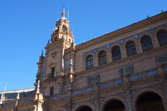 El embaldosado en Plaza de Espana en Sevilla fue construido para el Exposicion 1929 Ibero-americana Imagen de archivo