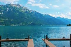 El embarcadero en el lago Brienz del lago, Suiza Imagen de archivo