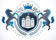 El emblema con clase, vector el escudo de armas heráldico compuesto usando caballo ilustración del vector