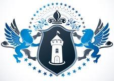 El emblema con clase, vector el escudo de armas heráldico compuesto usando medie stock de ilustración