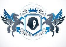 El emblema con clase, vector el escudo de armas heráldico compuesto usando tolerancia ilustración del vector