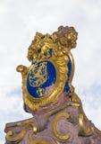 El emblema de oro de Hesse en Alemania, el león Imagen de archivo libre de regalías