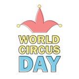 El emblema del día del circo del mundo aisló vector en blanco etiqueta del evento del día de fiesta libre illustration