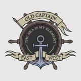 El emblema en el tema marino Imagen de archivo