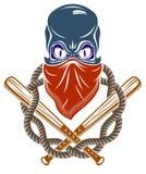 El emblema o el logotipo brutal del g?ngster con los bates de b?isbol agresivos del cr?neo dise?a elementos, crimen de la anarqu? stock de ilustración