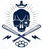 El emblema o el logotipo brutal del g?ngster con los bates de b?isbol agresivos del cr?neo dise?a elementos, crimen de la anarqu? ilustración del vector