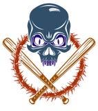 El emblema o el logotipo criminal brutal de la cuadrilla con los bates de b?isbol agresivos del cr?neo dise?a los elementos, esti ilustración del vector