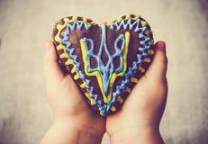 El emblema Ucrania del corazón de la torta del pan de jengibre da el niño Imagen de archivo libre de regalías