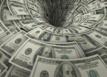 El embudo hecho de cientos billetes de banco del dólar Imágenes de archivo libres de regalías