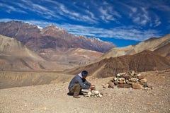 El emigrar en la región de Annapurna Imagen de archivo libre de regalías