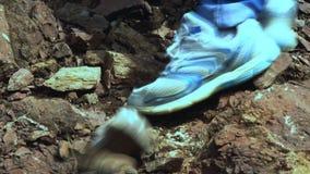El emigrar en las montañas El caer de las piedras almacen de metraje de vídeo