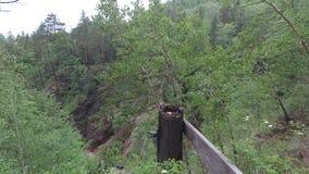 El emigrar a lo largo de la trayectoria arriba sobre el río con una leva de la acción metrajes