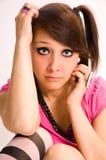El emo triste del adolescente de la muchacha Imágenes de archivo libres de regalías