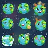 El emoji divertido lindo de la tierra del planeta que mostraba diversas emociones fijó de ejemplos coloridos del vector de los ca Imágenes de archivo libres de regalías