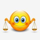 El emoticon lindo del libra, emoji, sosteniéndose escala - muestra astrológica - horóscopo - vector el ejemplo stock de ilustración
