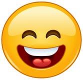 El emoticon sonriente con la boca abierta y la sonrisa observa Fotografía de archivo