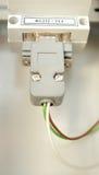 El empalme eléctrico está conectado con los conmutadores Foto de archivo