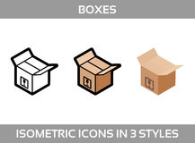 El empaquetado isométrico del ofsimple del sistema encajona iconos del vector3DIconos isométricos del color en tres estilos  Imagenes de archivo