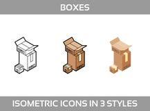 El empaquetado isométrico del ofsimple del sistema encajona iconos del vector3DIconos isométricos del color en tres estilos  Fotografía de archivo