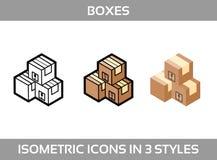 El empaquetado isométrico del ofsimple del sistema encajona iconos del vector3DIconos isométricos del color en tres estilos  Fotos de archivo libres de regalías
