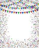 El empavesado señala el marco del confeti por medio de una bandera Imagen de archivo libre de regalías