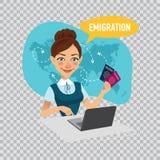 El empleado de la compañía prepara las visas para los inmigrantes Concepto de la emigración Ejemplo en fondo transparente stock de ilustración
