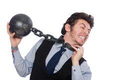 El empleado de sexo masculino encadenado aislado en blanco foto de archivo libre de regalías