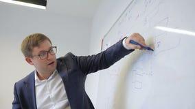 El empleado de sexo masculino escribe en whiteboard magnético mientras que se coloca en oficina metrajes