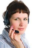 El empleado del centro de atención telefónica Fotografía de archivo