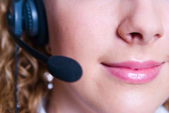 El empleado del centro de atención telefónica Foto de archivo libre de regalías