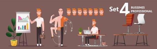 El empleado del hombre joven de la compañía presenta los resultados del trabajo ilustración del vector