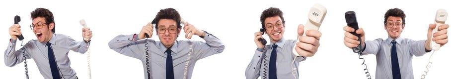 El empleado enojado del centro de atención telefónica en collage Fotos de archivo