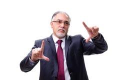 El empleado envejecido del hombre de negocios aislado en blanco foto de archivo libre de regalías