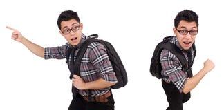 El empleado joven con la mochila aislada en blanco Fotografía de archivo libre de regalías