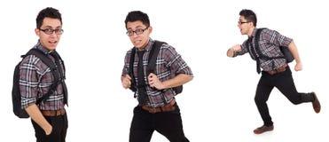 El empleado joven con la mochila aislada en blanco Foto de archivo