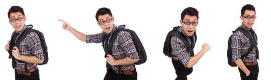 El empleado joven con la mochila aislada en blanco Foto de archivo libre de regalías