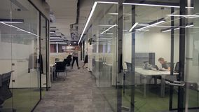 El empleado trabaja y camina alrededor de oficina moderna con las divisiones de cristal almacen de metraje de vídeo
