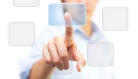 El empujar manualmente en icono de la pantalla táctil Imágenes de archivo libres de regalías